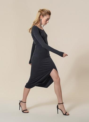 Agenda Yırtmaç Detaylı Elbise Antrasit
